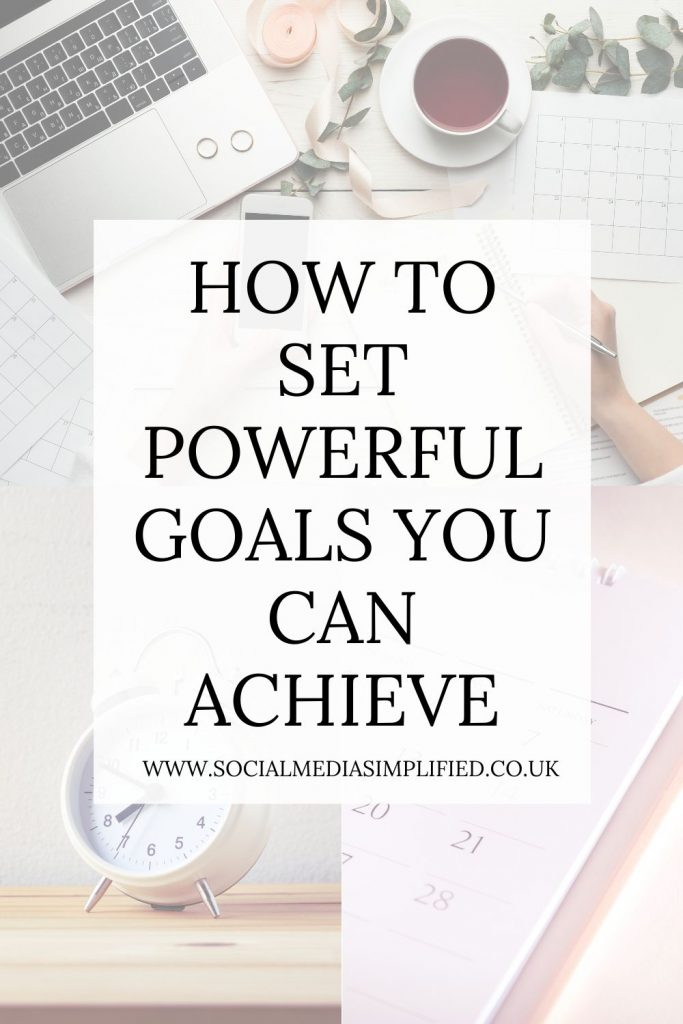 Flatlay with words how to set powerful goals you can achieve