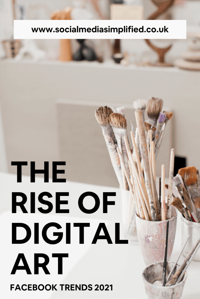 Pin image describing digital art Facebook trends with visuals of arts and crafts