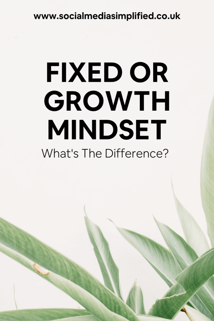 Pin image describing a fixed or growth mindset