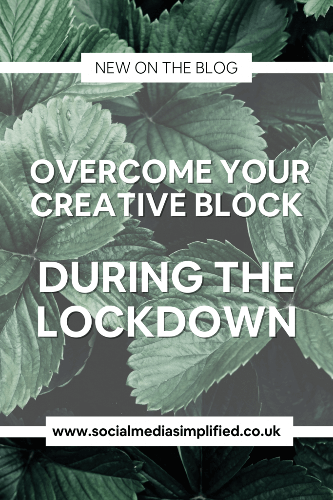 Pin describing how to overcome creative block
